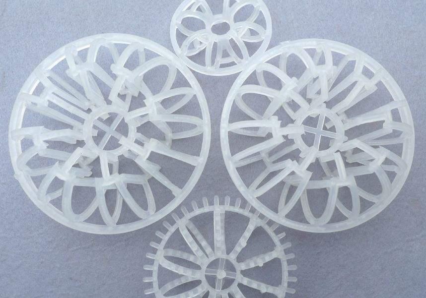 塑料花环与轻瓷填料的比较
